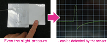 Even the slightest pressure .. is detected by the sensor